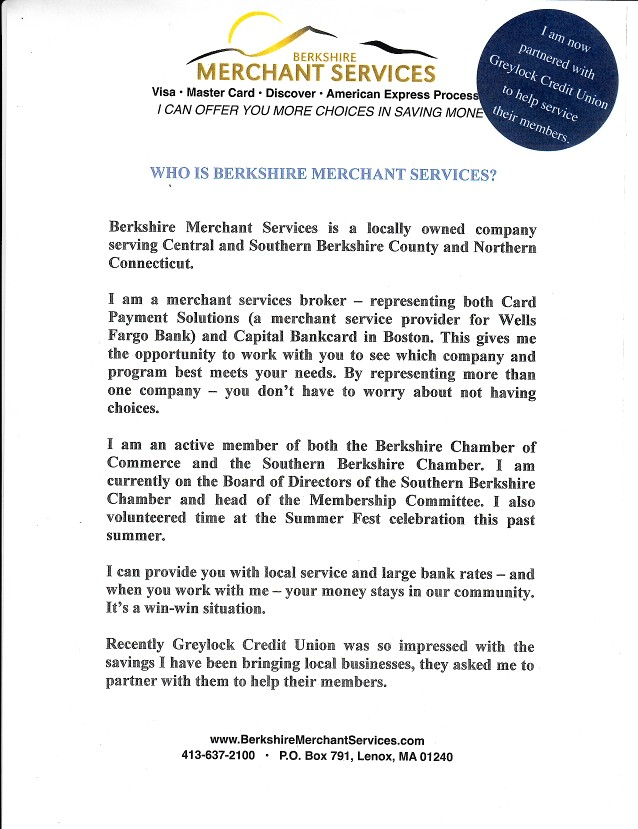 BERKSHIRE MERCHANT SERVICES Specializing in saving